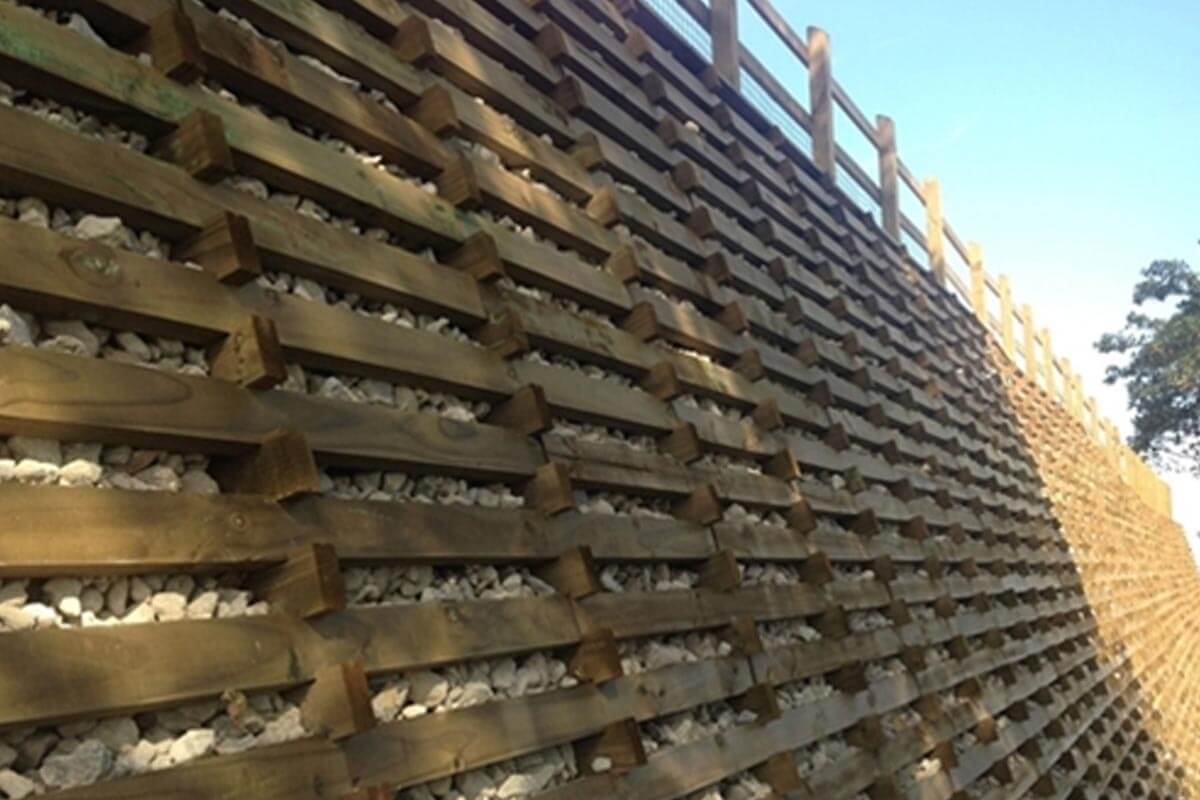Premier Paving - Timber Crib Retaining Wall